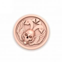 GOLD SKULL AND WINGS PIN