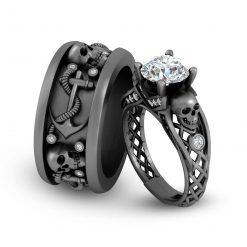 SKULL WEDDING RINGS FOR COUPLE