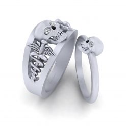 MATCHING SKULL WEDDING RING SET