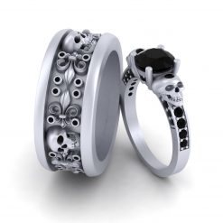 HIS AND HER SKULL WEDDING RING SET