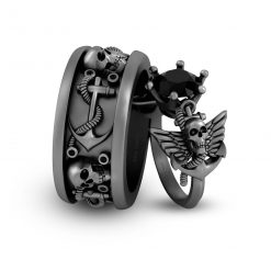 HIS AND HER SKULL COUPLE RINGS