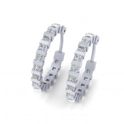PRINCESS DIAMOND HOOP EARRINGS