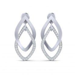 DIAMOND INTERLOCKING EARRINGS SILVER