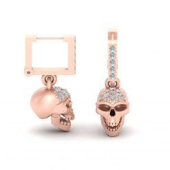 DIAMOND SKULL HOOP EARRINGS