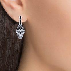 SILVER SKULL HOOP EARRINGS