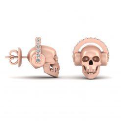 DIAMOND SKULL HEADPHONES EARRINGS