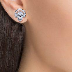 SILVER SKULL HEADPHONES EARRINGS