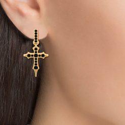 HOLY CROSS HOOP EARRINGS