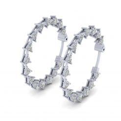 TRILLION DIAMOND HOOP EARRINGS