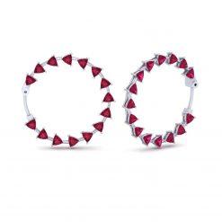 RUBY HOOP WEDDING EARRINGS