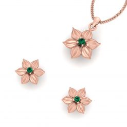 ROSE GOLD FLOWER PENDANT SET