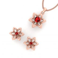 RED CZ FLOWER BRIDAL PENDANT SET