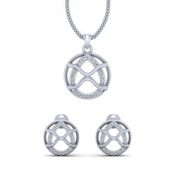 DIAMOND PENDANT SET SILVER
