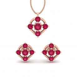 RUBY WEDDING PENDANT EARRINGS SET