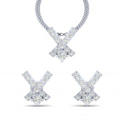 DIAMOND X PENDANT EARRINGS SET