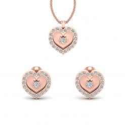 ROSE GOLD HEART NECKLACE SET