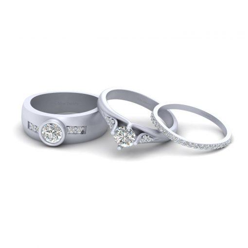 MATCHING COUPLE WEDDING RING SET