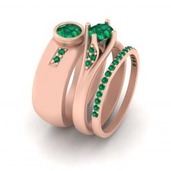 EMERALD WEDDING RING SET FOR COUPLE