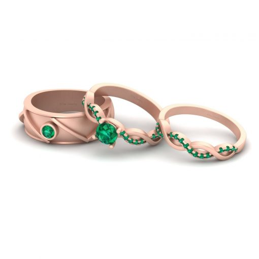 MATCHING ENTWINED WEDDING RING SET