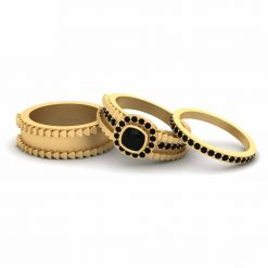 BLACK ONYX HALO WEDDING RING BAND SET