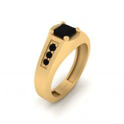 BLACK ONYX WEDDING BAND GOLD