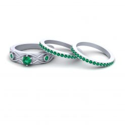 3 STONE ENGAGEMENT RING BAND SET