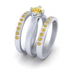 YELLOW TOPAZ ENGAGEMENT RING SET