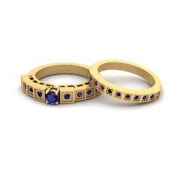 BLUE SAPPHIRE WEDDING RING BAND SET