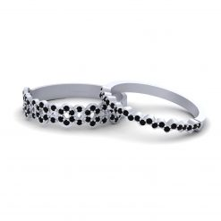 BLACK DIAMOND WAVY PROMISE RING SET