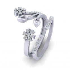 CLUSTER DIAMOND FLORAL WEDDING RING SET