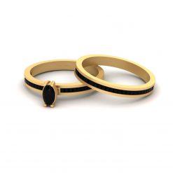BLACK ONYX WEDDING RING BAND SET