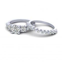 3 STONE DIAMOND WEDDING RING SET