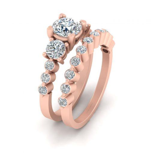 THREE STONE DIAMOND RING SET
