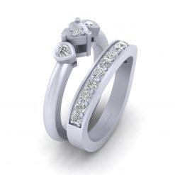 DIAMOND HEART ENGAGEMENT RING SET