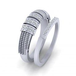 SILVER DIAMOND PROMISE RING SET