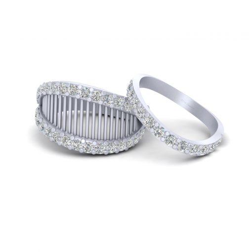 DIAMOND MESH WEDDING RING SET