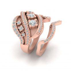 ROSE GOLD COCKTAIL WEDDING RING SET