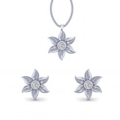 SILVER FLOWER PENDANT EARRINGS