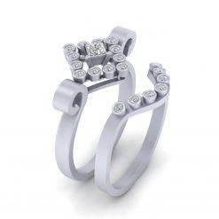 WHITE DIAMOND WEDDING RING SET
