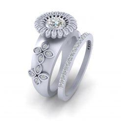 FLORAL WEDDING RING SET