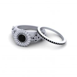 BLACK DIAMOND ENGAGEMENT RING SET