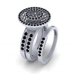 MESH BRIDAL WEDDING RING SET