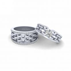MOISSANITE COUPLE WEDDING RING SET