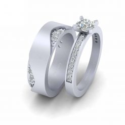 MOISSANITE COUPLE ENGAGEMENT RING SET