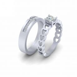 MOISSANITE HEART COUPLE RING SET
