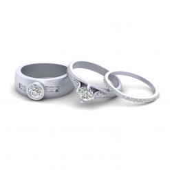 MOISSANITE MATCHING WEDDING RING SET