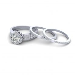 Halo MOISSANITE WEDDING RING SET