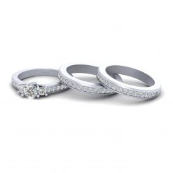 MOISSANITE 3 STONE BRIDAL RING SET