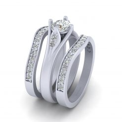 ROUND MOISSANITE ENGAGEMENT RING SET