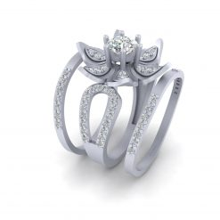 FLOWER MOISSANITE WEDDING RING SET
